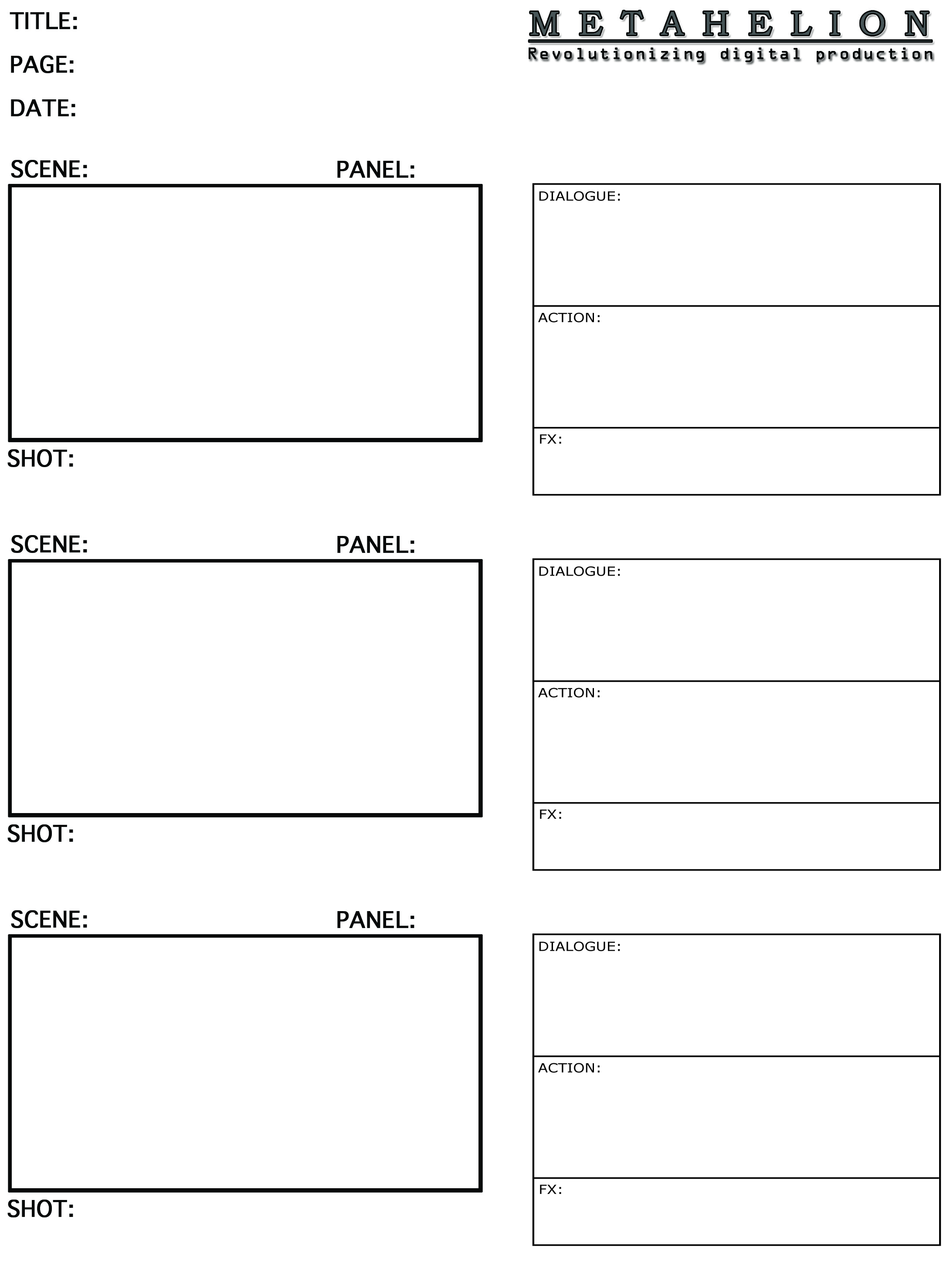 Storyboard Templates = Metahelion Digital